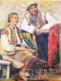Картина Украинцы в национальных костюмах большой старый холст 74 на 62,5 см