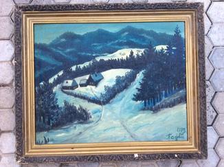 Зимний пейзаж,подпись