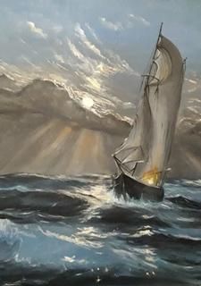 Море, яхта картина маслом на холсте 60х80