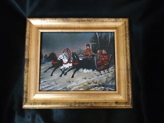 Картина маслом тройка лошадей