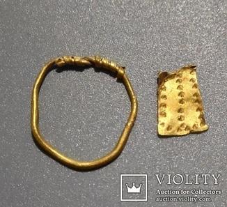 Кольцо золотое спиральное (ЧК)+кусочок золота чк