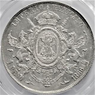 1 песо 1866 року, Мексика, імператор Максиміліан, срібло