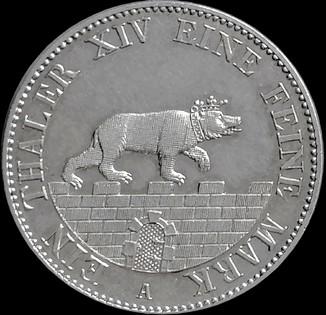 1 талер 1855 року Ангальт, срібло,  UNC
