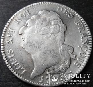1 ЭКЮ 1793 года, Король Людовик XVI (1774 - 1793), Франция, серебро