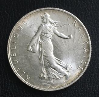 2 франка 1920 год Франция серебро