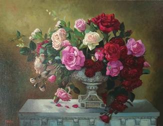 """""""Ніжно розквітли троянди"""". Полотно, олія. 60*80 см."""