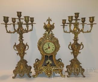 Вінтажний камінний годинник з підсвічниками по 5 свічок арт. 046