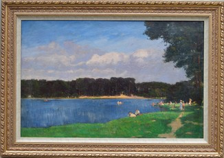 Картина художник Kuron H. Отдых у озера, холст, масло, размер картины 81 х 124 см.