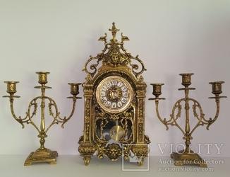 Вінтажний камінний годинник з підсвічниками по 3 свічки арт. 047