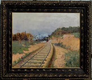 Картина художник Маковский Василий, паровоз, холст, масло, размер картины 52 х 63,5 см. 1899 год.