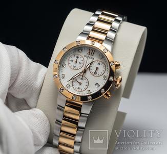 Часы хронограф Bulova женские, позолота, бриллианты