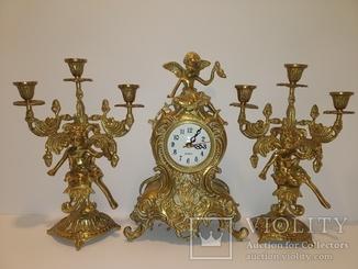"""Вінтажний камінний годинник з підсвічниками по 3 свічки """"з ангелами"""" арт. 045"""