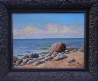 Картина художника Бразоль-Заславская Юлия, у берега моря, картон, масло, размер картины 52 х 68 см. 1908 год.