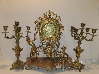 Камінний годинник з маятником і підсвічниками по 5 свічок арт. 059