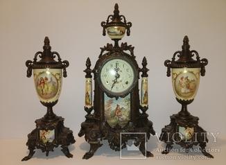 Камінний механічний з боєм годинник з вазами, Італія, арт. 062