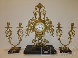Механічний камінний годинник з підсвічниками по 2 свічки арт. 053