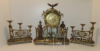 Механічний камінний годинник з боєм і підсвічниками по 3 свічки арт. 052