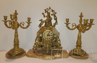 Механічний камінний годинник з підсвічниками по 3 свічки арт. 054