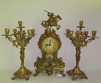 Вінтажний камінний годинник з підсвічниками по 5 свічок арт. 057