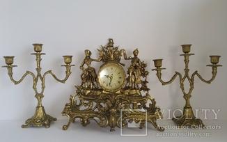 Вінтажний камінний годинник з підсвічниками по 3 свічки арт. 058