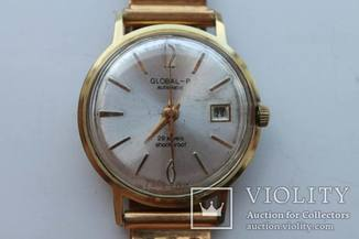 Часы GLOBAL-P (Poljot de luxe), 1 МЧЗ, автоподзавод, 29 камней, AU20