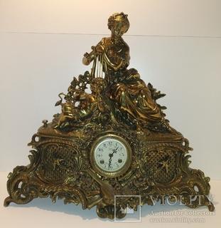 """Механічний камінний годинник з боєм """"Жінка з арфою і дитиною"""" арт. 055"""