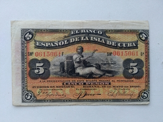 Куба 5 песо 1896