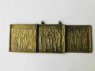 Складень бронза двухсторонний «Деисус с избранными святыми» 19 век