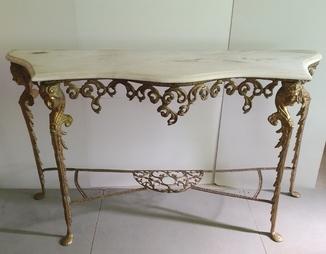 Бронзовий вінтажний стіл з мармуром арт. 0190