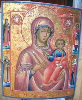 Икона Богородица Смоленская  со  Св Антонием и Феодосием Печ