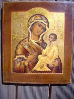 Икона Богородица Тихвинская. Палех