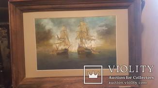 Старая картина в раме Морской бой с подписью автора
