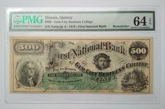 500 доларів 1873, перший національний банк, Іллінойс, Квінсі
