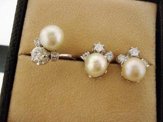 Кільце та Сережки 10.6г 750 проба Діаманти 0.9кар Перли Akoya