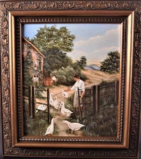 Картина сельский пейзаж Масло Подпись J.Lugert