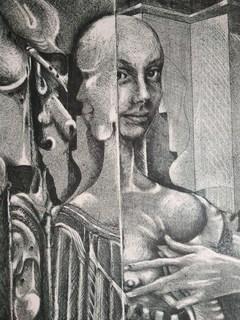 Літографія. Cюрреалізм. Дві голови. Д. Хакбарт. 1974р. (470*590)
