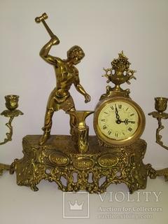Вінтажний годинник з підсвічниками по 3 свічки арт. 043