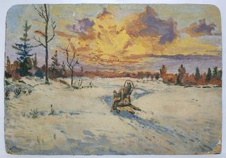 Макс Бирштейн (1914, Киев – 2000, Таруса) Зимняя упряжка, 1946 г.