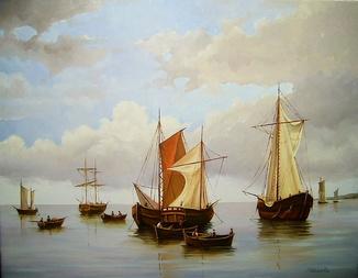 """""""Рыбацкие лодки."""" 35х45 С. Кольба"""