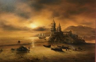 «Смоление лодки» холст масло 40х60 Борисенко