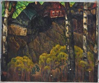 Картина художник Иванов Владимир, лесной пейзаж, холст, масло, размеры 72 х 87 см.