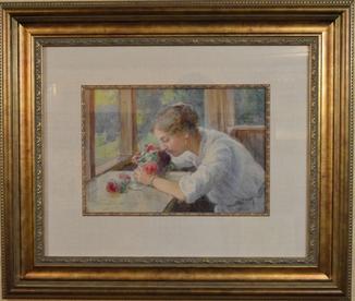 Картина художник Фельдман Валентин, розы, бумага, акварель, 1916 год.