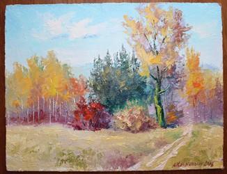 """Картина """"Осень"""" 34х27 см., масло, оригинал, с подписью автора"""