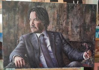 Джон Уик (Киану Ривз) Холст, масло, художник Ю. Цуканов