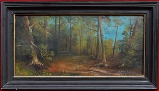 Картина подписная, Лесной пейзаж