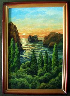 Картина Біля водойми масло, двп 30х20