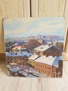 Старая картина Город,худ Луговой
