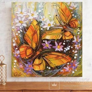 Картина акрилом «Метелики» 40х35