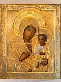 Тихвинская икона Божией Матери в серебряном окладе