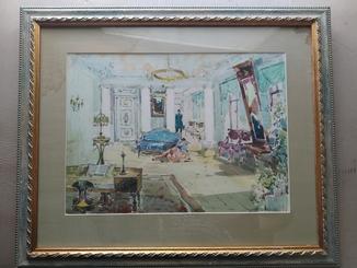 """""""В гостиной"""", б.акв. 52х45 см.М.Соломонов(1876-1942)"""